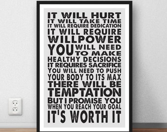 Fitness quote exercise motivation poster wall art print life's inspiration