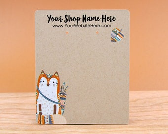 Customize Jewelry Display Cards - Woodland Fox Nature Animal Arrow Boho #2 - Earring Necklace Bows - necklace Cards -Packaging    DS0149