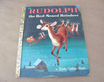 Vintage Christmas Book, 1970's Rudolph The Red Nosed Reindeer Book, Vintage Rudolph, Little Golden Book, Holiday, Christmas Decor