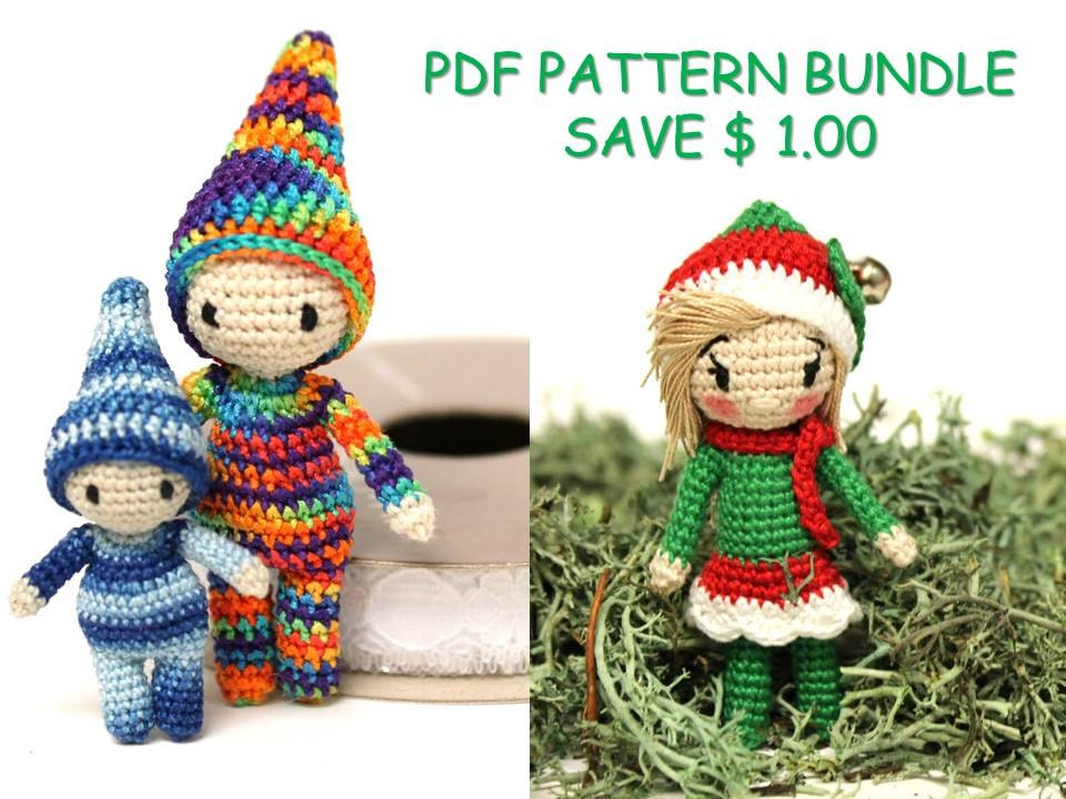 Amigurumi Nativity Español : Pattern bundle crochet elf amigurumi doll christmas elves