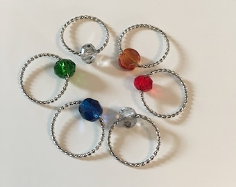Hogwarts House Colors Crystal Snag-free Stitch Markers