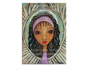 "Sale African American angel, guardian, Christmas angel, original mixed media painting, girl portrait on 5"" x 7"" canvas panel"