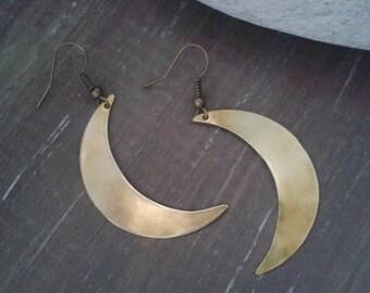 Moon earrings, brass earrings, boho jewelry, crescent moon