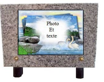 Funeral plate in granite gray marbled or pink