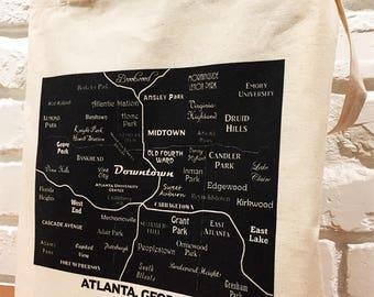 Atlanta Bag, Atlanta Map, Canvas Bag, Reusable Bag, Grocery Bag, Book Bag, Market Bag, Summer Bag