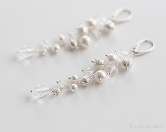 Bridal earrings Vintage style bride earrings Wedding earrings Pearl earrings Milk ivory white wedding jewelry for brides Bridesmaid gift