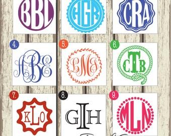 Small Monogram Sticker - Monogram Decal - Personalized Monogram/Initials - Circle or Script Monogram - Car Decal, Phone Sticker 057