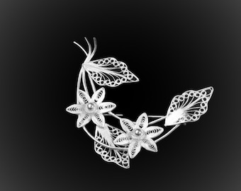 Hawaiian Flower brooch silver embroidery