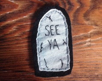 Hand embroidered gravestone sew on patch