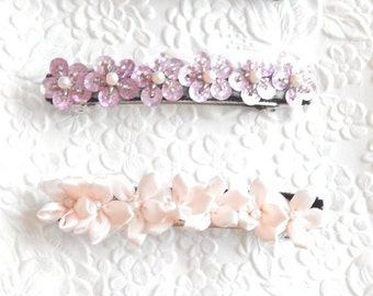 Pink purple beaded barrettes, floral thick hair clips, beaded ponytail holder