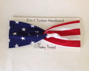 American Flag Stretchy Cotton Turban Headband