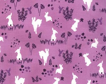 House of Hoppington Frolic Wist by Michael Miller - Purple Bunnies Bunny Rabbits - Quilting Cotton Fabric - choose your cut