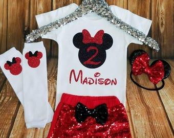 Minnie Mouse Birthday Outfit, Girls Birthday Outfit, Minnie Mouse Birthday Shirt or Onesie, Red and Black Bow Ears Headband