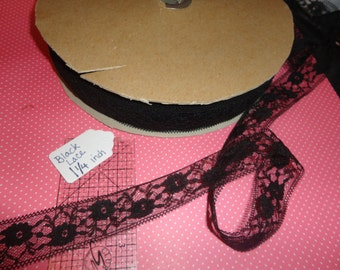 5 Yards of Black Vintage Floral Lace 1