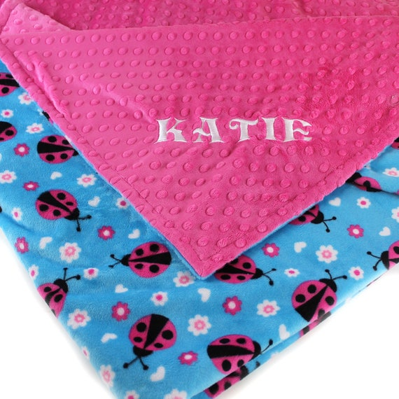 Personalized  Blanket, Minky Baby Blanket, Baby Girl Ladybug Baby Blanket, Fuchsia Ladybug Blanket Name Blanket Baby Gift Kids Minky Blanket