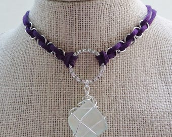 Purple Faux Suede Cord Choker Necklace - Dichroic Glass Pendant Necklace - Silver Wire Wrapped Pendant - Hipster - Boho - Purple Choker