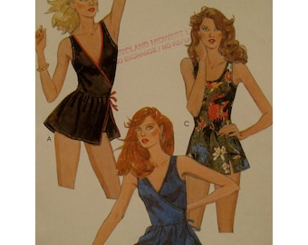 "Skirted Swimsuit Pattern, V-neck Side Wrap, Scoop Neck, Panties, Side Slit Skirt, McCalls No. 8073 UNCUT Size 12 (Bust 34"" 87cm)"