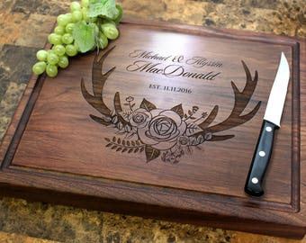 Personalized Chopping Block, 12x15~1&3/4 thick Walnut/Cherry/Sapele, Engraved Butcher Block  - Wedding, Anniversary, Housewarming Gift. 412