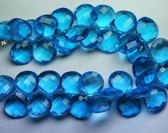 5 Matched Pair,Swiss Blue Quartz Faceted Heart Shape Briolette, Size 14mm