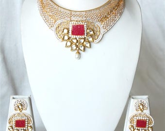 Ruby Kundan Bridal Choker Necklace Earring Set, Gold Finish Kundan High Neck Bridal Necklace, Bollywood Necklace Set, Kundan Bridal Jewelry.