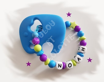 Personalized NOAH model silicone teething rattle