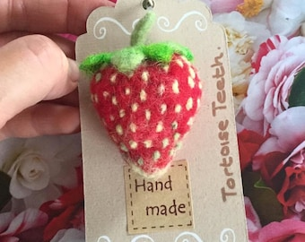 Needle Felted Strawberry brooch.