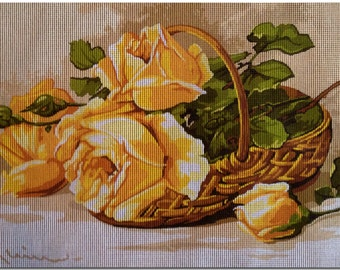 "Gobelin Tapestry Needlepoint Kit ""Roses""  printed canvas 644"