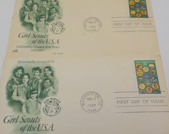 Vintage - Set of 2 - 1987 Girl Scout Stamps - First Day of Issue - 75th Girl Scout Anniversary