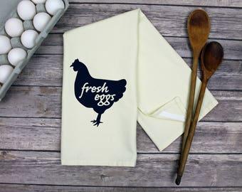 Chicken Towel - Fresh Eggs Tea Towel - Farmhouse Decor - Dish Towel - Tea Towel - Kitchen Towel - Hand Towel -  Fresh Eggs Chicken