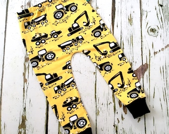 Baby clothes, baby leggings, organic baby leggings, machines, tractors, boy leggings, baby trousers, baby pants, baby gift, diggers, toddler