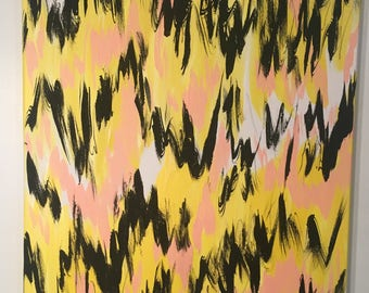 Cheer up Charlie Brown/abstract painting/canvas/acrylic/hand painted/pink,black,yellow/