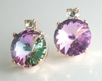 rose gold crystal earrings,Rose gold earrings,pink crystal earrings,Swarovski earrings,rivoli earrings,purple crystal earrings,Vitrail light