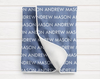 Personalized Baby Blanket / Baby Boy Shower Gift / Custom Name Blanket by South + Willow Design