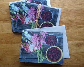 Gladiolas and Raspberries - Photo Notecard - Free Shipping