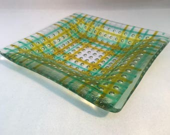 Amber And Light Turquoise Fused Glass Bubble Plate Dish.