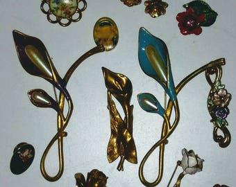 13 Vintage Brooches 1 Earring SALE