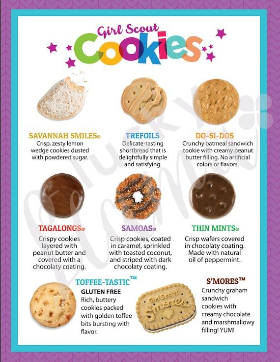 girl scout cookie menu 8 5 x 11 printable