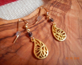 Gold-tone Metal Teardrop/Swarovski Crystal Dangles
