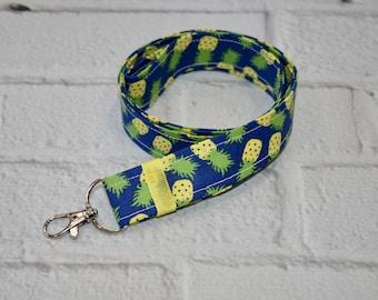 Pineapple Lanyard, ID Badge Holder, Key Lanyard, Fabric Lanyard, Teacher Gift,Blue, Yellow
