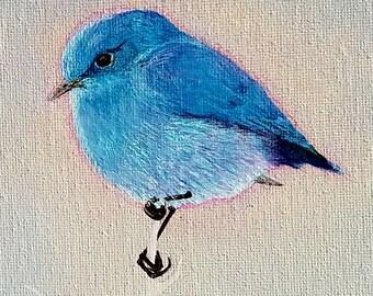 "Blue Bird In Winter,  original 8"" by 8"" canvas acrylic"