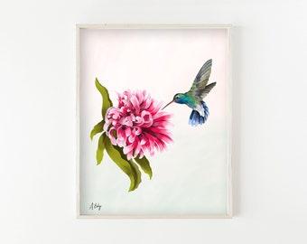 "botanical wall art, hummingbird art, large art, large wall art, botanical art prints, botanical decor, bird prints, bird art - ""Hovering"""