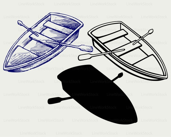 Wooden Boat Svg Clipart Shelf Silhouette Paddles Cricut Cut Files Clip Art Digital Download Designs From LineWorkStock On