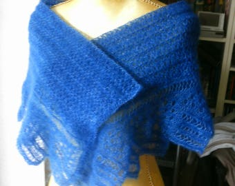 Stola shoulder-cloth, blue, crochet with Selvage. Alour lace mohair + silk