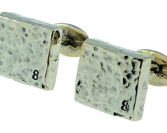 8 Year Anniversary Bronze Cufflinks 8 Stamped into Corner - 8th Wedding Anniversary Gift Idea