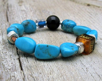 Arizona Turquoise Minimalist Boho Beaded Bracelet Sterling Silver Murano Glass OOAK for her under 400 Free US Shipping Gift Wrap