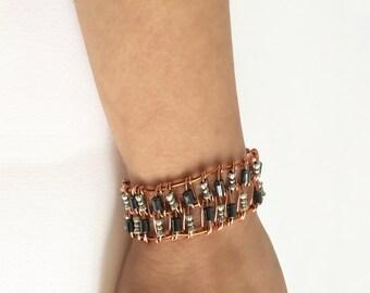 Boho Copper & Metallic Beaded Cuff Bracelet