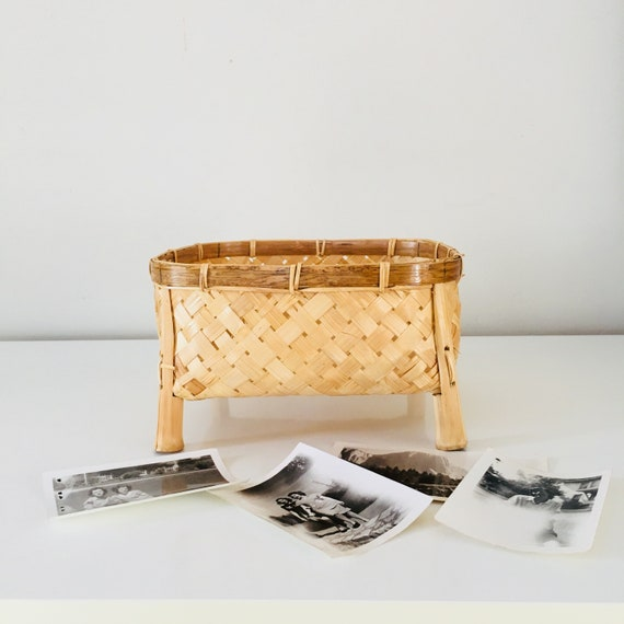 Vintage Square Rattan Basket Woven Rattan and Bamboo Storage Basket with Legs