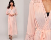 Sheer Pink Robe Long Lingerie Jacket WITH BELT 70s Pastel Pink LACE Kimono Robe Maxi Lingerie Romantic 1970s Vintage Small