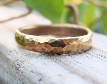 Artisan Hammered Brass Ring