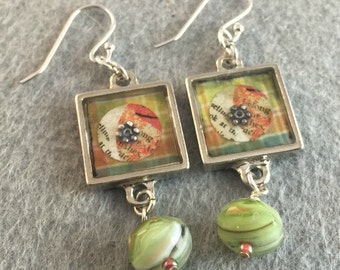 Spring Plaid Mixed Media Dangle Earrings